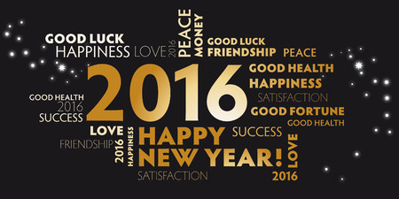 contentment: black and golden postcard Happy New Year 2016