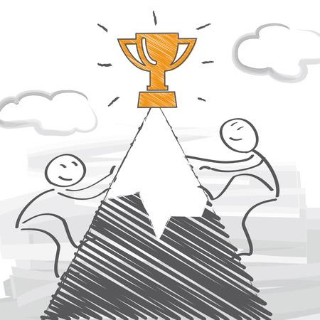 competitors: Two competitors run a race - vector illustration