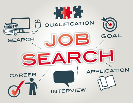zoek naar werk. Grafiek met Trefwoorden en pictogrammen Stock Illustratie