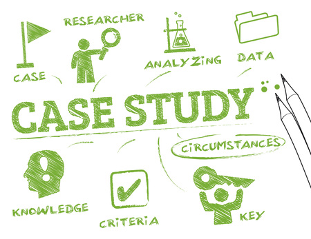 case study. Chart with keywords and icons