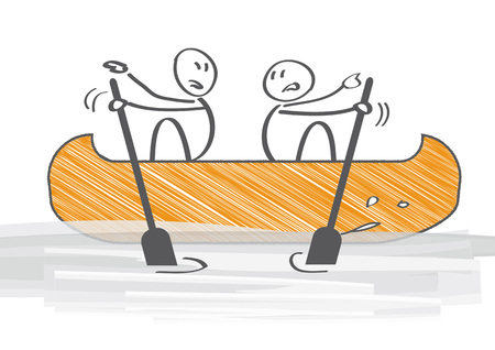 Two People in Canoe Paddling in Opposite Directions - vector illustration