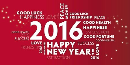 contentment: Postcard happy new Jear 2016 - red color
