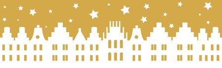 old town: Silhouette - Golden Vector illustration of old town with starry sky