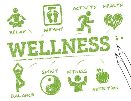 wellness. Grafiek met zoekwoorden en pictogrammen Stock Illustratie