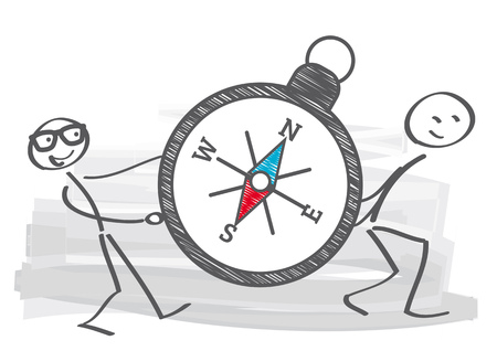 two stick figures carry a compass Stock Illustratie