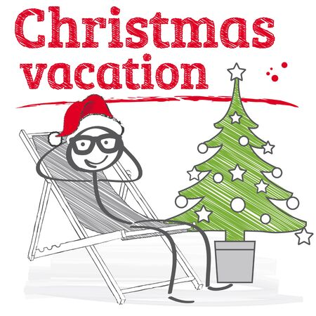 new year's cap: Santa Claus sitting on beach chairs - vector illustration Illustration