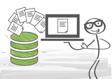 computadora caricatura: Servidor de base de datos. Transferencia de información y protección - ilustración vectorial Vectores