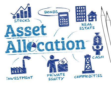 Asset Allocation. Chart mit Schlüsselwörter und Symbole Standard-Bild - 49584595