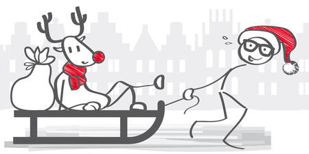 pulled: Reindeer sitting on the sledge and pulled by Santa Claus