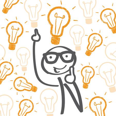 Stick figure with many good ideas Illustration