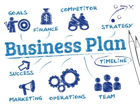 biznes: plan biznesowy. Wykres ze słowami kluczowymi i ikony Ilustracja