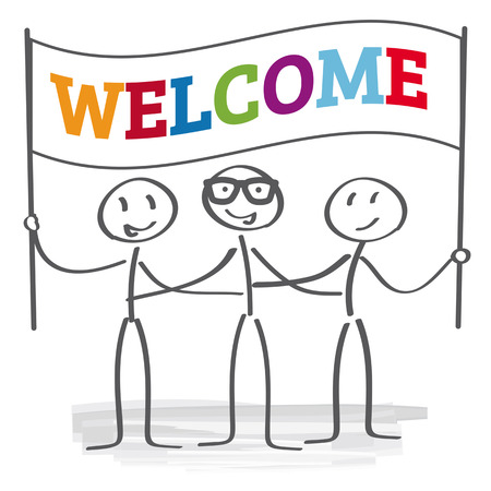 welcome people: stick figures holding welcome sign