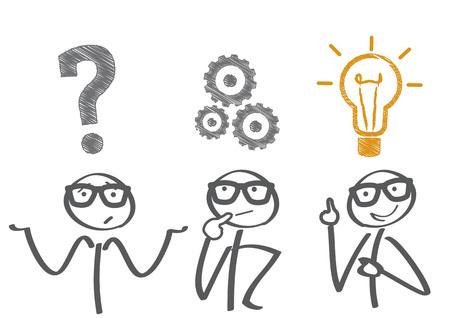 Myślący. Biznesmen rozwiązywania problemów Ilustracje wektorowe