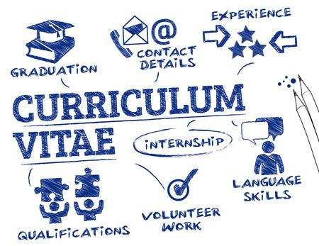curriculum vitae concept. Grafiek met zoekwoorden en pictogrammen