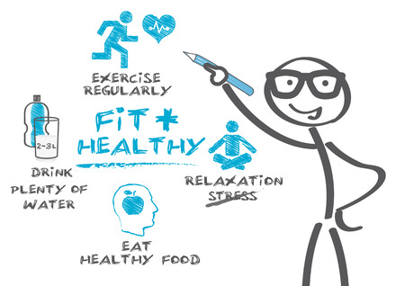 a physician: Stickman pointing Diagram of healthy life Illustration