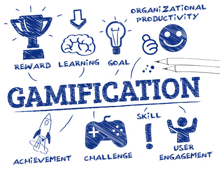 Gamification。キーワードとアイコンでグラフ化します。  イラスト・ベクター素材