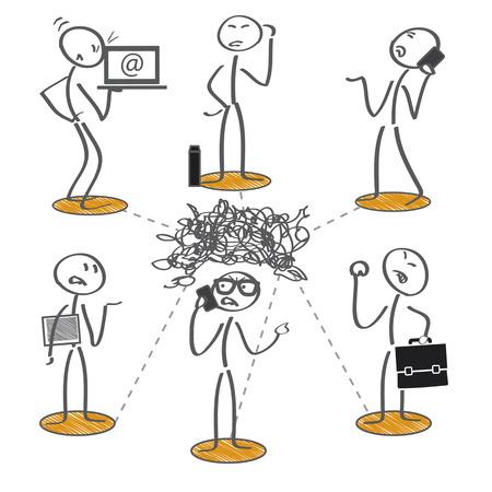 Los hombres de negocios tratando desesperadamente de comunicarse entre sí Ilustración de vector