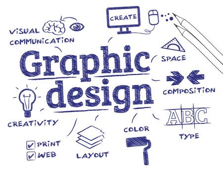 그래픽 디자인. 키워드 및 아이콘이있는 차트