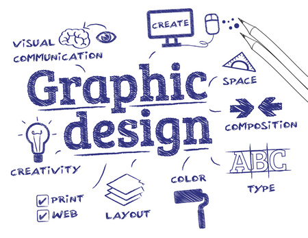 graphic designing: Graphic design. Chart with keywords and icons