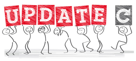 Diverse Stick figures Holding The Word Update Illustration