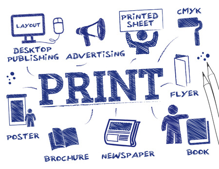 magazine stack: Print concept. Chart with keywords and icons Illustration