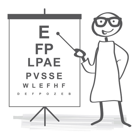 eye exam: Standard ophthalmic exam - eye doctor Illustration
