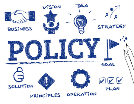 relate: policy. Chart with keywords and icons
