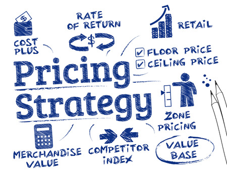 pricing: Pricing strategy. Chart with keywords and icons Illustration