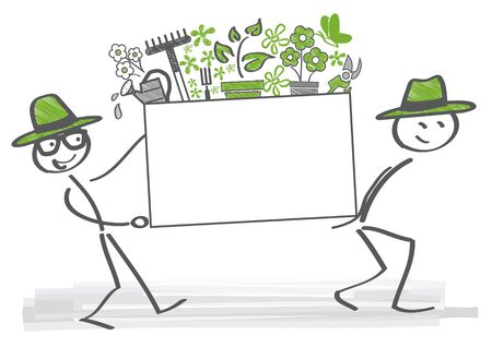 grass plot: gardeners carry a box with plants and gardening tools Illustration