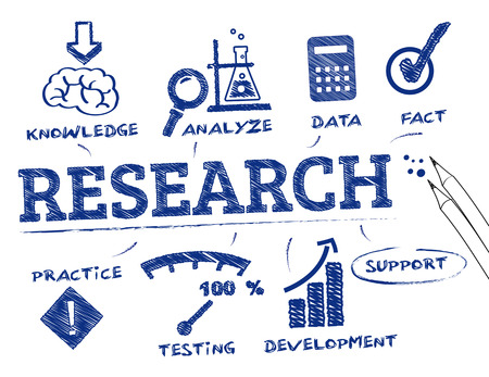 research. Chart with keywords and icons Иллюстрация