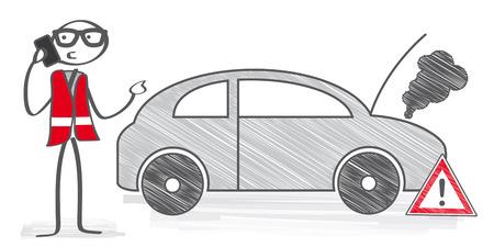 Ventilation - homme de bâton d'appeler le service de voiture technique Banque d'images - 52875170