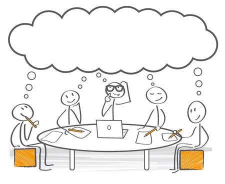Groep van stick figures brainstorming Stock Illustratie