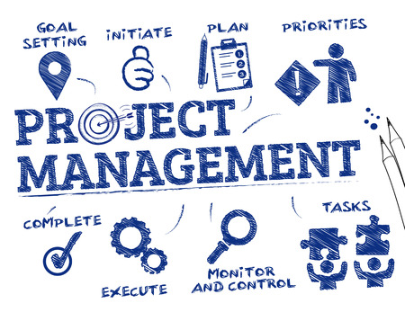 principle: Project management. Chart with keywords and icons