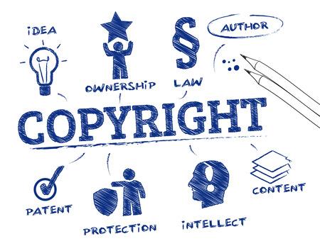 Copyright. Grafiek met zoekwoorden en pictogrammen Stock Illustratie
