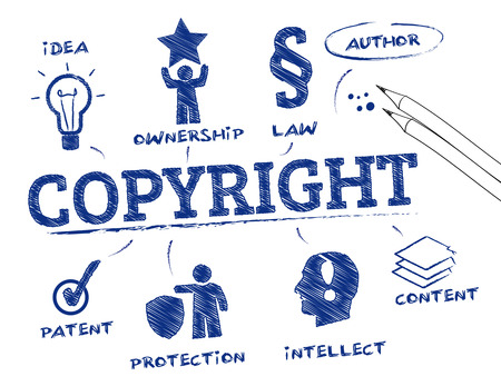 Copyright. Chart with keywords and icons