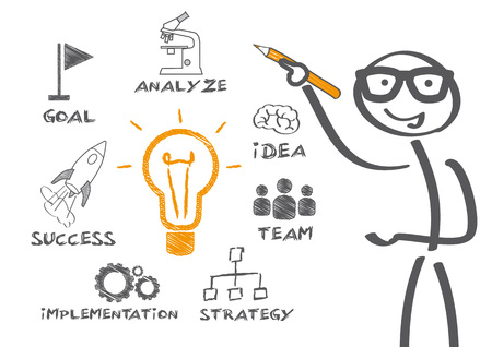 Stick Figure planning success Illustration
