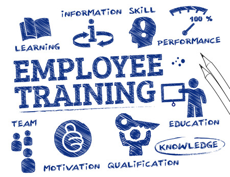 business solution: employee training. Chart with keywords and icons