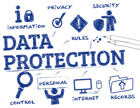 gegevensbescherming. Grafiek met trefwoorden en pictogrammen Stock Illustratie