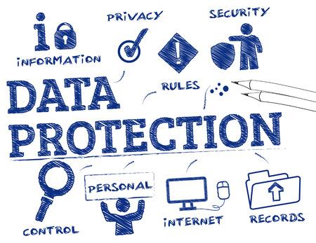 Protection des données. Graphique avec des mots clés et des icônes Banque d'images - 54184915