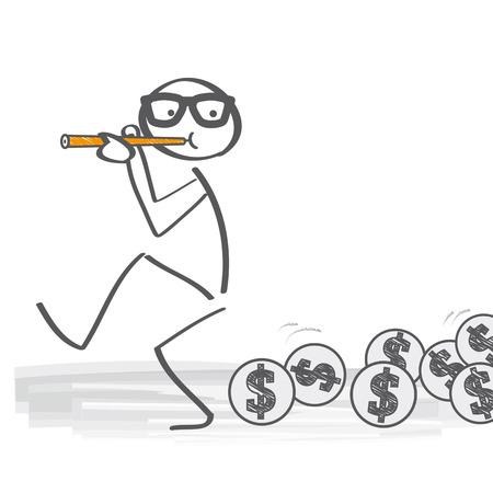 Zaken als de rattenvanger van Hamelen Stock Illustratie