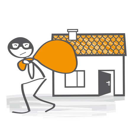 burglar: intrusion of a burglar, illustration