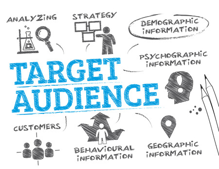 defined: Target Audience. Chart with keywords and icons Illustration