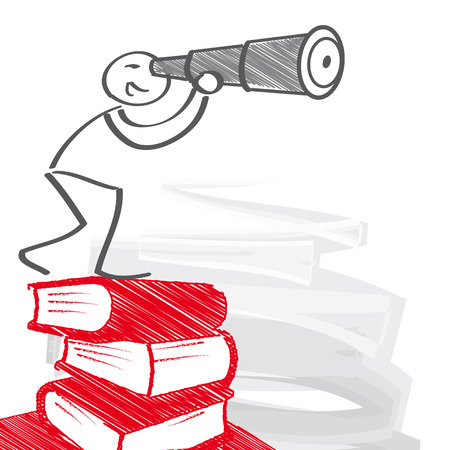 Stick figure standing on piles of books and looks through a telescope Illustration