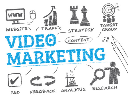 video icons: Video Marketing. Chart with keywords and icons