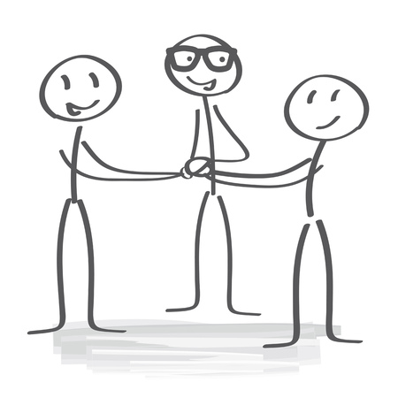 high five: businesspeople piling hands Illustration