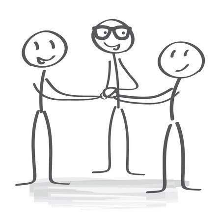 businesspeople piling hands Illustration
