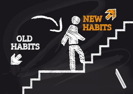 buena postura: Los viejos hábitos nuevos hábitos - Blackbord con texto y el icono