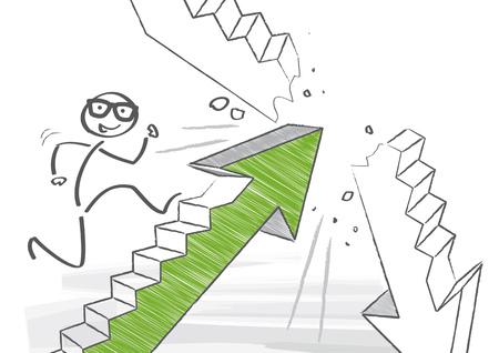 Stick figure is climbing the social ladder Illustration