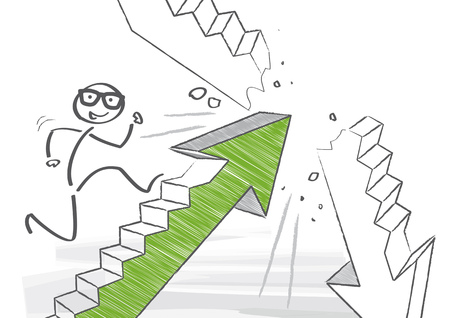 Stick figure is climbing the social ladder Иллюстрация