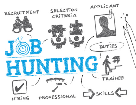 job hunt: Job hunting. Chart with keywords and icons